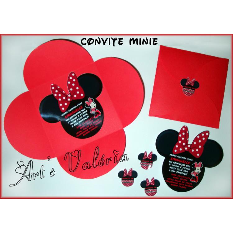 CONVITE MINIE C/ ENVELOPE FLOR - 10X10CM